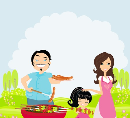 A vector illustration of a family having a picnic in a park  Vector
