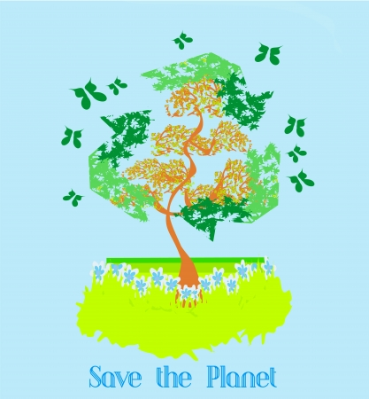 Save the Planet - Illustration of recycling with ecological icons Vector