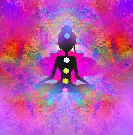 aura energy:  Yoga lotus pose. Padmasana with colored chakra points.  Stock Photo