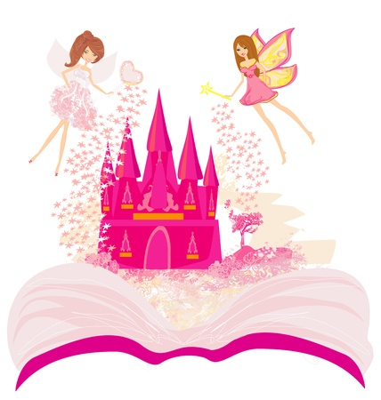 Magic world of tales, fairy castle appearing from the book  Vector