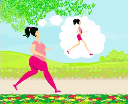 cellulit: Fiatal, nő, kocogás, kövér lány álma, hogy egy sovány lány Illusztráció