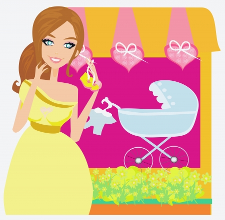 pregnancy exercise:  Beautiful pregnant woman on shopping for her new baby  Illustration