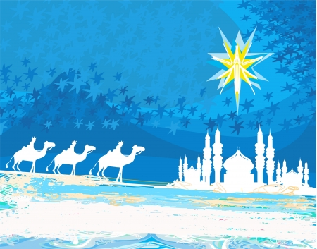 Classic three magic scene and shining star of Bethlehem  Vector