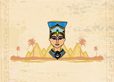 empress:  old paper with Egyptian queen  Illustration