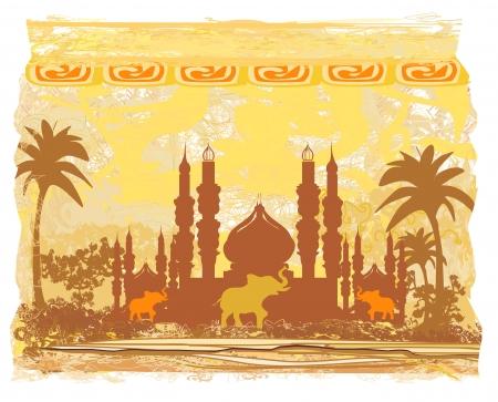 India background,elephant , building and palm trees Reklamní fotografie - 20884324