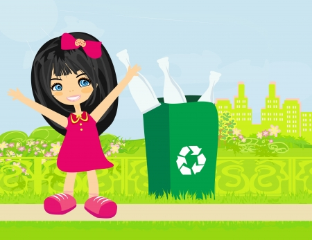 garbage bin: Girl recycling bottles
