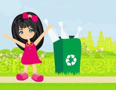 afvalbak: Meisje recycling flessen