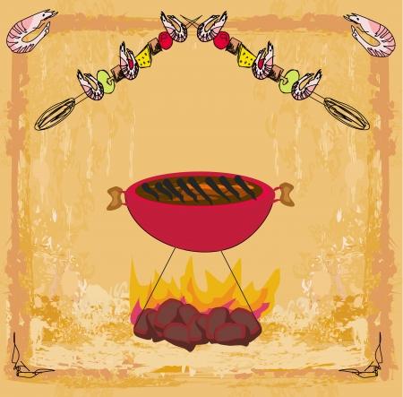 Stylized yummy shrimp kabob on the grill.