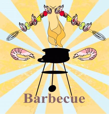 kabob: Stylized yummy shrimp kabob on the grill.
