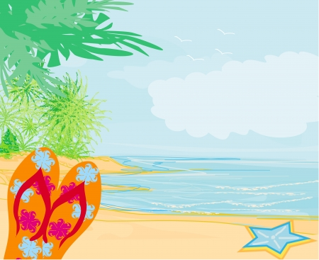 cancun: Flip-flops and seashell on the beach Illustration