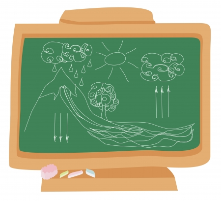 cycle water in nature environment drawn with chalk on a school blackboard Vector