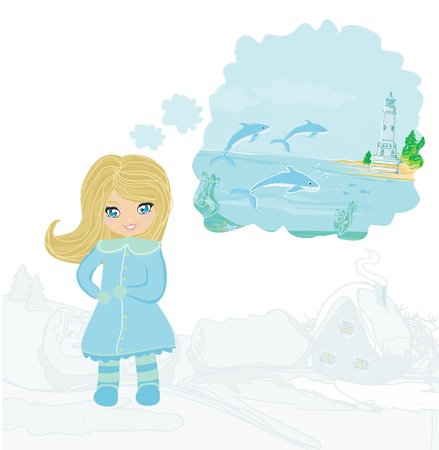 Girl dreaming about summer  Vector