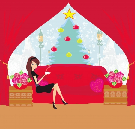 girl drinking coffee on Christmas morning Vector