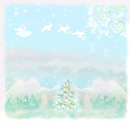 Christmas scene with Santa  and winter landscape  photo