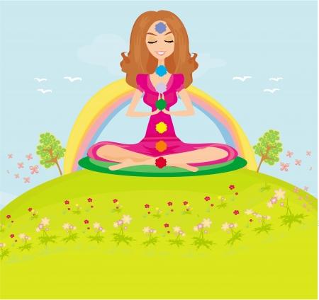 meditates: girl sits and meditates - chakra points Illustration