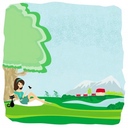 azal�e: fille se d�tend dans le parc Illustration