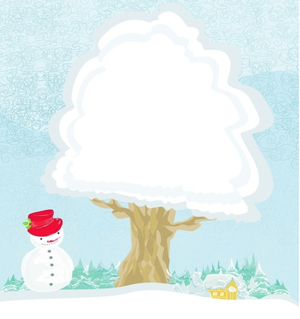 Winter tree background - landscape with a house, Christmas trees and snowman Vector
