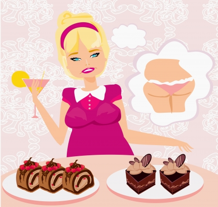 fatso: fat girl is afraid to eat calorie cakes