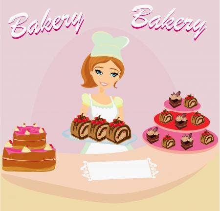 saleswoman: bakery store - saleswoman serving chocolate cakes
