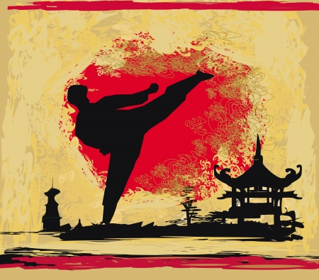 mix fighting: karate Grunge background