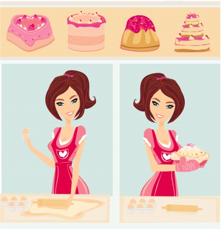 housewife bakes cakes and cookies Illustration