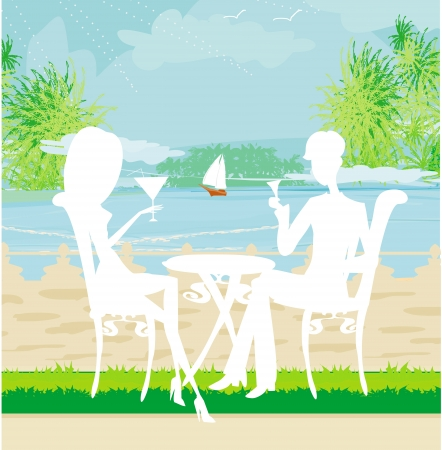 fine dining: romantic date on a tropical beach Illustration