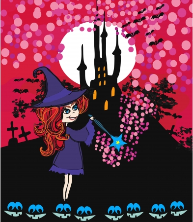 Cute cartoon illustration of a witch  Vector