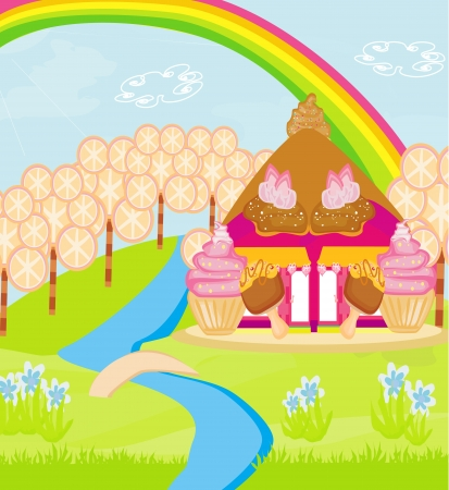 fairytale house of candy Vector