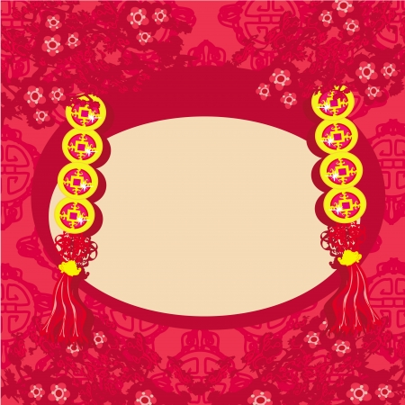 Chinese New Year card - Traditional Chinese lanterns  Vector