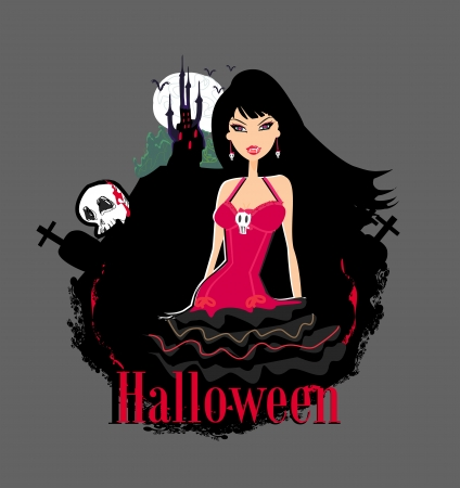 abstract portrait of a beautiful female vampire and a haunted house  Vector