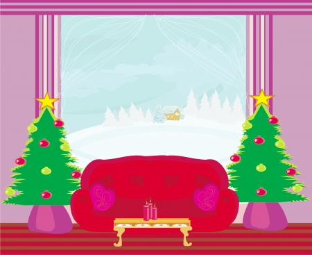 Fashionable interior of living room with Christmas tree  Stock Vector - 21534246