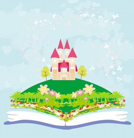 Magic world of tales, fairy castle appearing from the book Stock Vector - 21534282