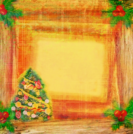 christmas tree with abstract holly berry decoration  photo