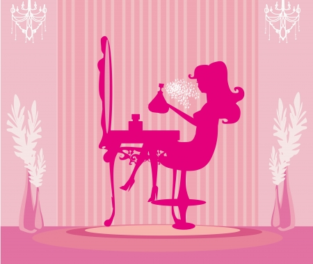 chandelier isolated: young woman spraying perfume on herself  Illustration