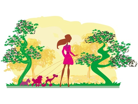Girl walking with her dogs in autumn landscape. Stock Vector - 21534310