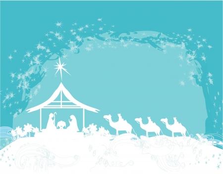 구유에있는 아기 예수의 기독교 크리스마스 출생 장면 일러스트