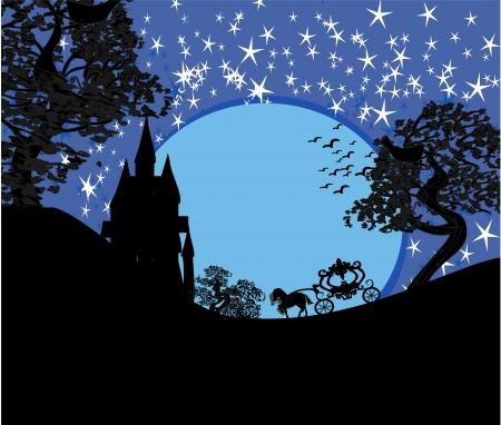馬キャリッジと中世の城のシルエット
