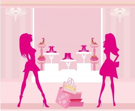foot gear:  Fashion girls shopping in shoe shop