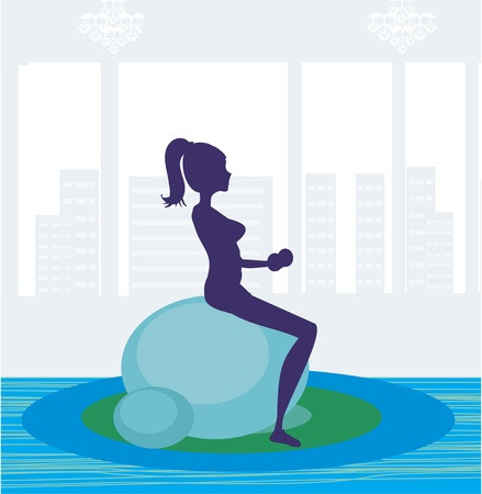 pilates ball: girl exercising pilate in a gym