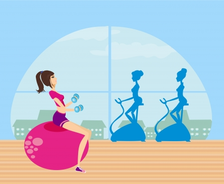 slim women: girls exercising in a gym