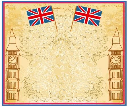 postcard back: Grunge banner with London  Illustration