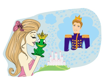 Beautiful young princess kissing a big frog  Vector