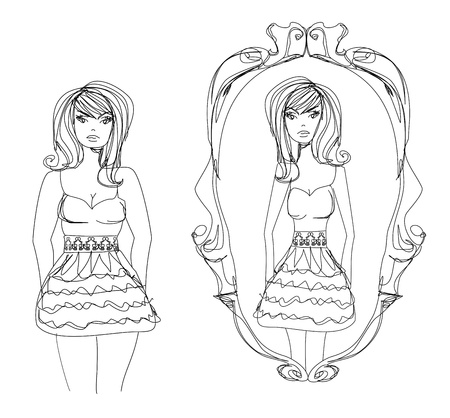 looking in mirror different reflection drawing. full lady enjoys her slim reflection vector looking in mirror different drawing e