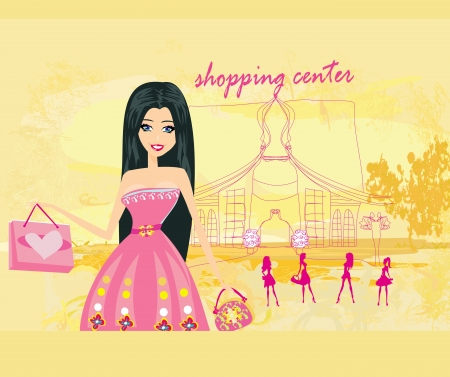 Cute fashion girl on a shopping center background Stock Vector - 21534403