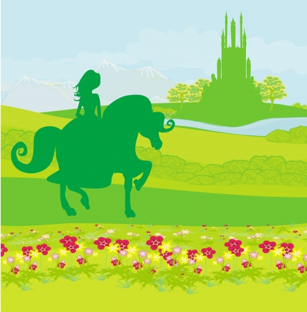 princess riding a horse into the castle Vector
