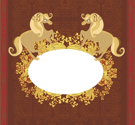 abstract vintage horses frame Stock Vector - 21534431