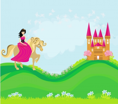 princess riding a horse into the castle Stock Vector - 21534433
