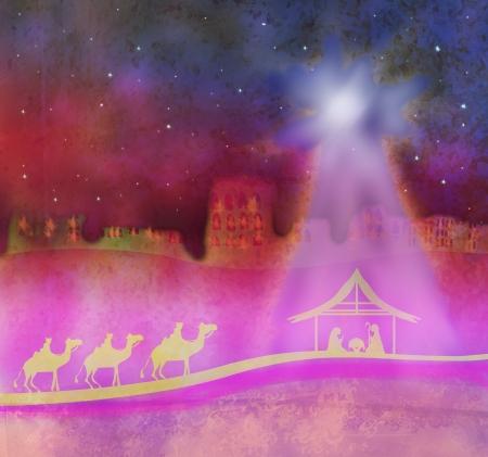 maria: Biblische Szene - Geburt Jesu in Bethlehem.