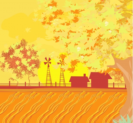 Eco farming - Beautiful vector autumn landscape  Vector