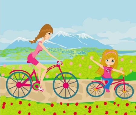 Mother and daughter biking in the park Stock Vector - 21724249